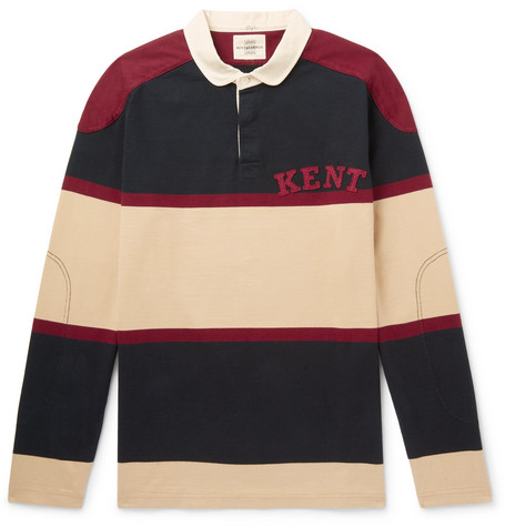 KENT & CURWEN Appliquéd Striped Cotton Polo Shirt