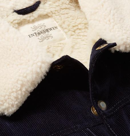 Scotney Slim Fit Shearling Trimmed Cotton Corduroy Trucker Jacket by Kent &Amp; Curwen
