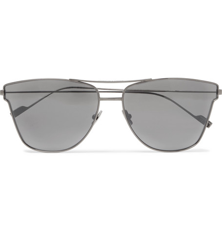 Aviator Style Gunmetal Tone Sunglasses by Saint Laurent