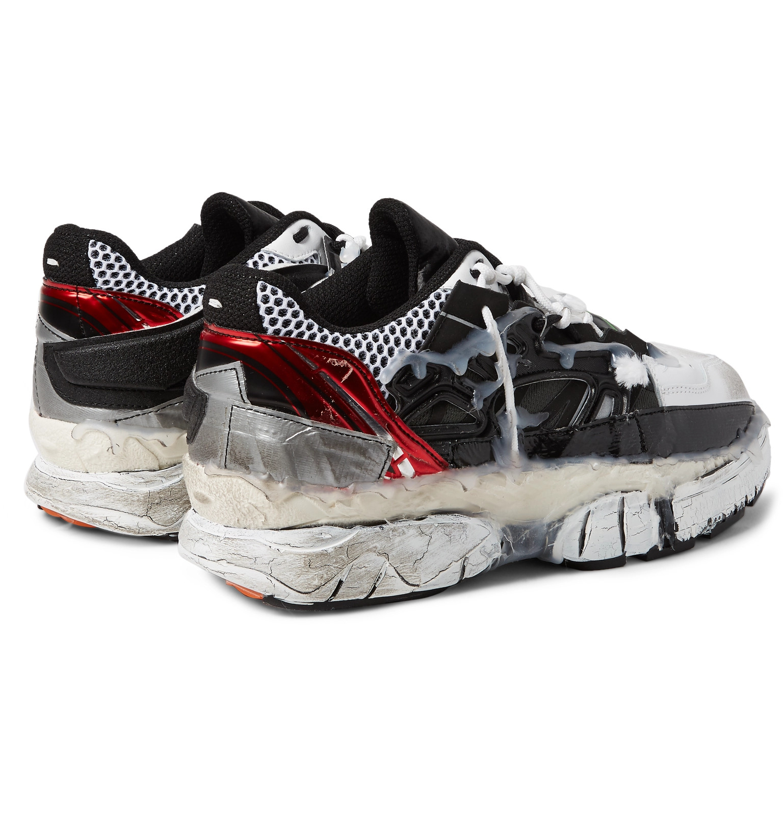 dce733448d9c Maison Margiela - Fusion Rubber-Trimmed Distressed Leather Sneakers