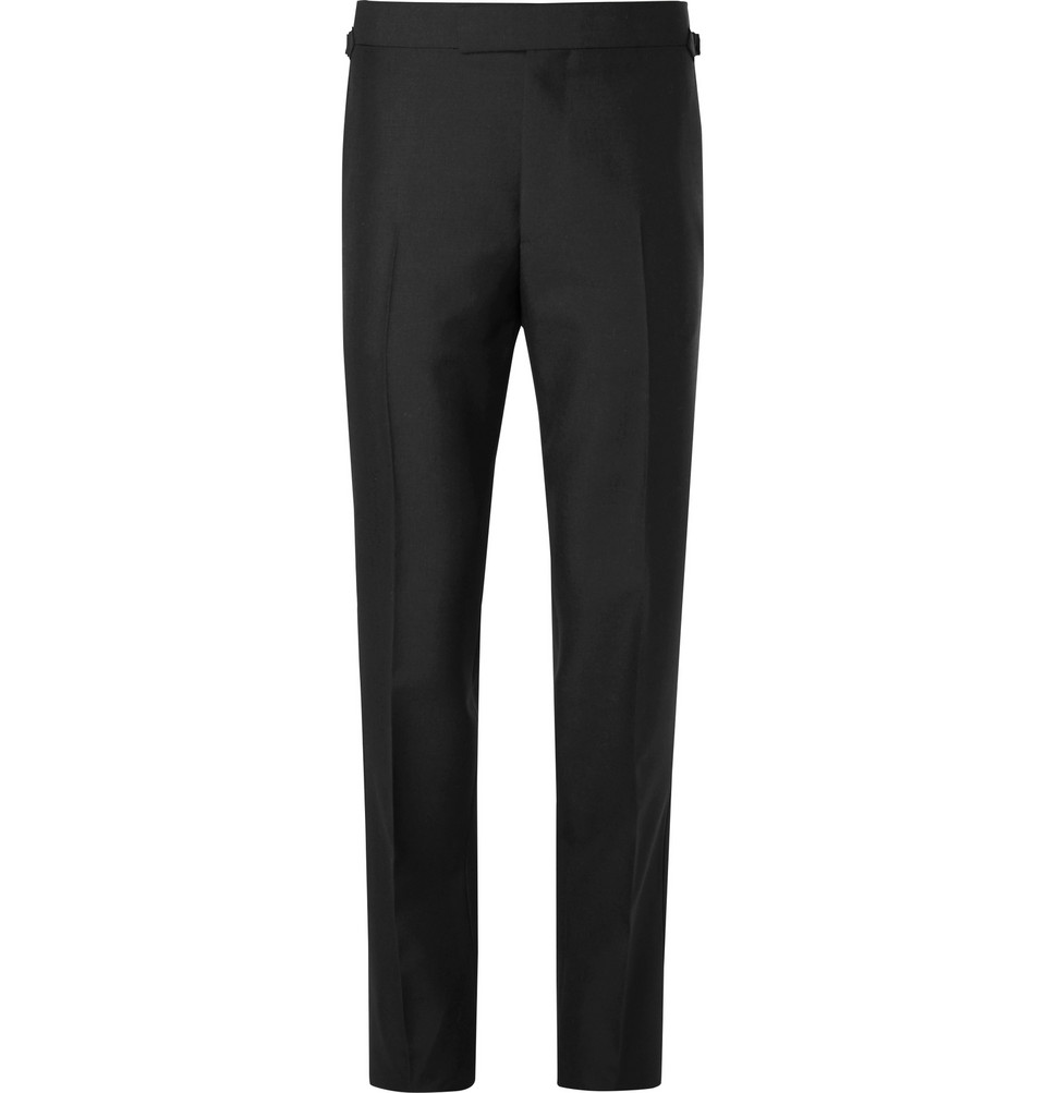 Eggsy's Black Wool And Mohair-blend Tuxedo Trousers - Black