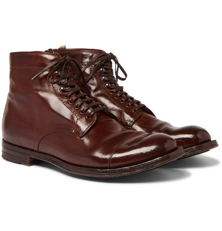 Anatomia Burnished Leather Derby Boots by Officine Creative
