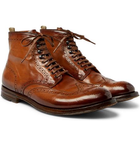 Anatomia Burnished-leather Brogue Boots Officine Creative ZlKVMUWmag