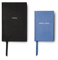 Smythson - Panama Bright Ideas Cross-Grain Leather Notebook Set