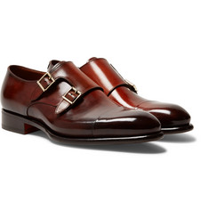 Santoni - Burnished-Leather Monk-Strap Shoes