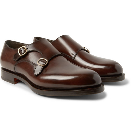 Polished Leather Monk Strap Shoes by Santoni