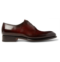 Santoni Burnished-Leather Oxford Brogues