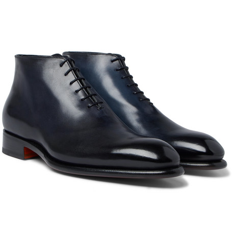 Whole-cut Burnished-leather Oxford Boots - Navy