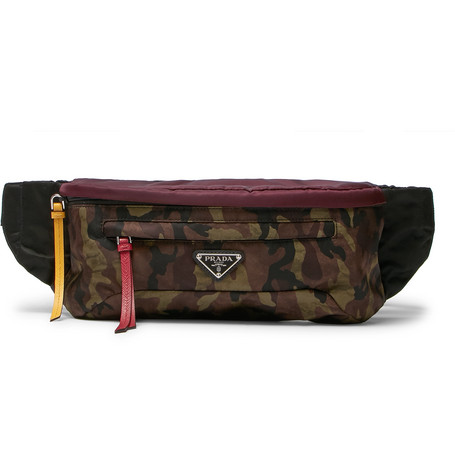 Saffiano Leather Trimmed Camouflage Print Nylon Belt Bag by Prada