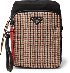 Prada Saffiano Leather-Trimmed Houndstooth Nylon Pouch