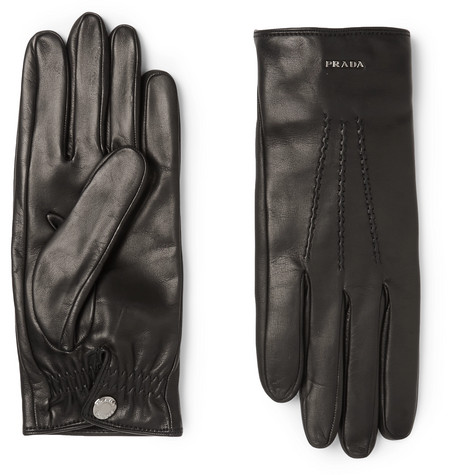 Cashmere Lined Leather Gloves by Prada