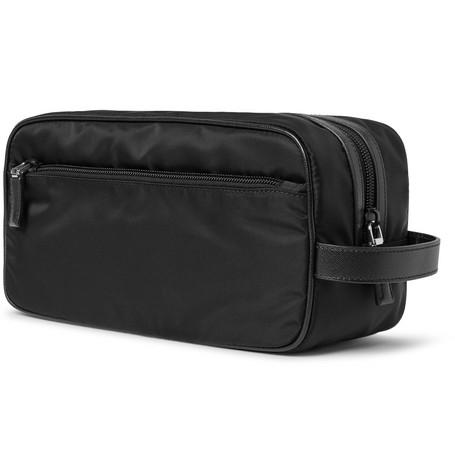 Saffiano Leather Trimmed Nylon Wash Bag by Prada