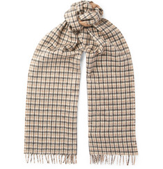 Prada - Checked Silk and Cashmere-Blend Scarf