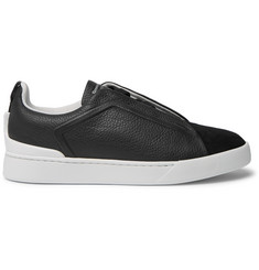 Ermenegildo Zegna Triple Stitch Full-Grain Leather and Suede Slip-On Sneakers