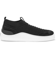 Z Zegna Suede, Leather and TECHMERINO Mesh Slip-On Sneakers