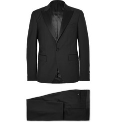 SALLE PRIVÉE Black Gaspar Slim-Fit Satin-Trimmed Wool and Mohair-Blend Tuxedo