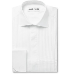 SALLE PRIVÉE White Mavis Cutaway-Collar Bib-Front Cotton-Poplin Tuxedo Shirt