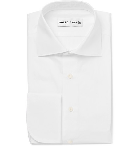 White Finn Cutaway-collar Double-cuff Cotton-poplin Shirt - White