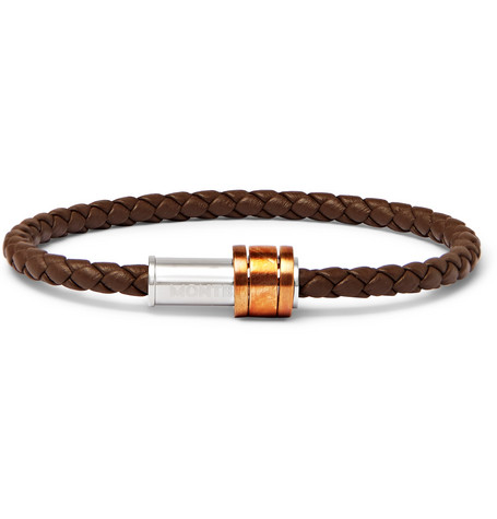 1858 Braided Leather, Stainless Steel And Bronze Bracelet