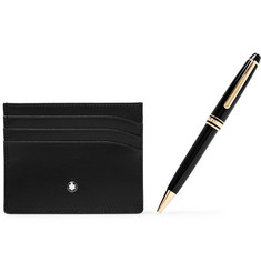 Montblanc - Meisterstück Resin and Gold-Plated Ballpoint Pen and Leather Cardholder Gift Set