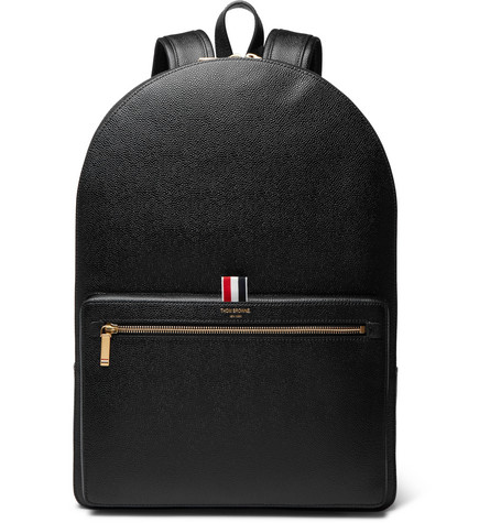 Pebble-grain Leather Backpack - Black