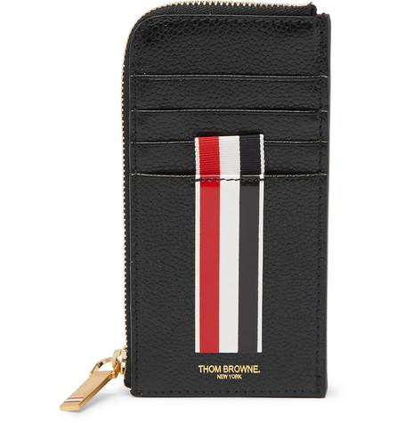 thom browne printed pebble grain leather zip around cardholder - Thom Browne Card Holder