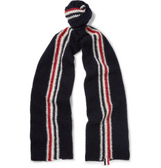 Thom Browne Striped Intarsia Wool and Mohair-Blend Scarf