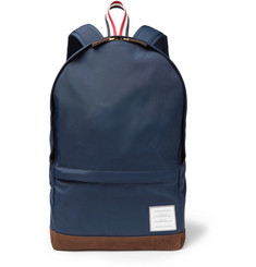 Thom Browne Suede and Grosgrain-Trimmed Canvas Backpack