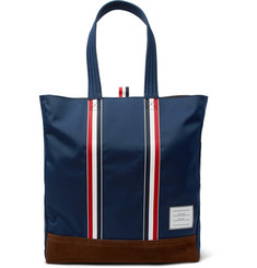 Thom Browne Suede and Grosgrain-Trimmed Canvas Tote Bag
