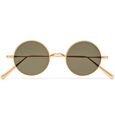 Cubitts Guilford Round-Frame Brushed Gold-Tone Sunglasses