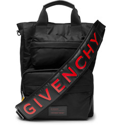 Givenchy - Logo-Print Leather-Trimmed Shell and Mesh Bag