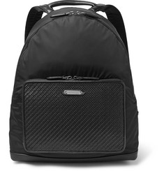 Ermenegildo Zegna Pelle Tessuta Leather and Shell Backpack