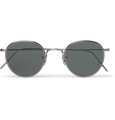 Eyevan 7285 Round-Frame Acetate and Gunmetal-Tone Titanium Sunglasses