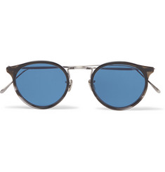 Eyevan 7285 Round-Frame Silver-Tone and Acetate Sunglasses