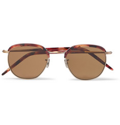 Eyevan 7285 Round-Frame Gold-Tone and Tortoiseshell Acetate Sunglasses
