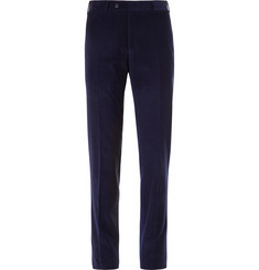 Canali Midnight-Blue Slim-Fit Kei Cotton-Corduroy Suit Trousers