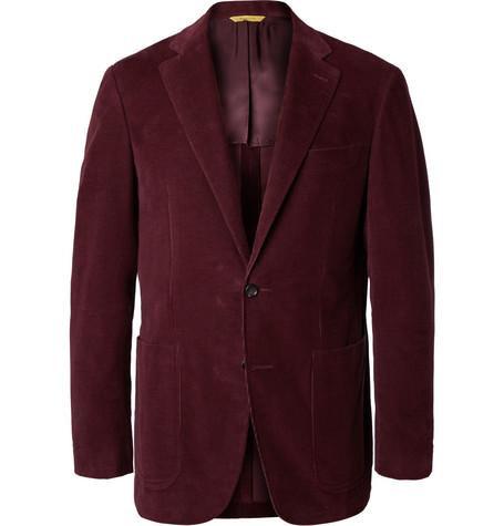 Burgundy Kei Slim-fit Cotton-corduroy Suit Jacket