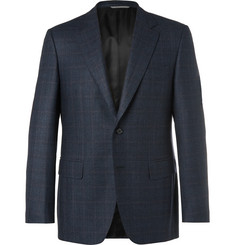 Canali Navy Slim-Fit Prince of Wales Checked Wool Suit Jacket
