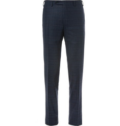 Canali Navy Slim-Fit Prince of Wales Checked Wool Suit Trousers