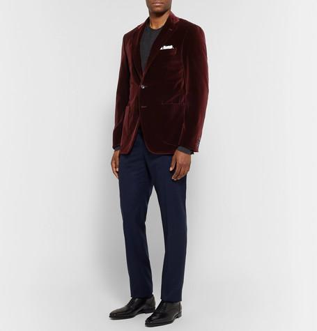 Burgundy Kei Slim Fit Cotton Velvet Blazer by Canali