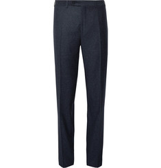 Canali Navy Slim-Fit Donegal Wool and Silk-Blend Trousers