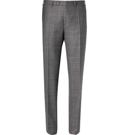 Grey Slim-fit Prince Of Wales Checked Wool Trousers Canali Outlet Popular 79xancmuJ9