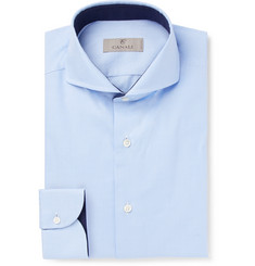 Canali - Light-Blue Slim-Fit Cutaway-Collar Puppytooth Cotton Shirt