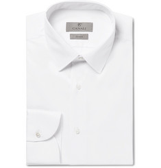 Canali - White Slim-Fit Stretch Cotton-Blend Poplin Shirt