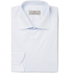 Canali - Light-Blue Striped Cotton Shirt