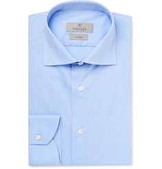Canali Blue Pin-Dot Stretch Cotton-Blend Shirt