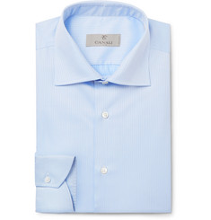 Canali - Light-Blue Cutaway-Collar Herringbone Cotton Shirt