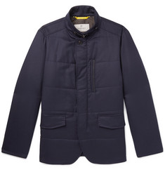Canali Leather-Trimmed Quilted Wool-Flannel Jacket