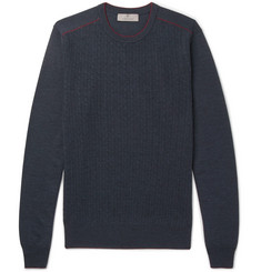 Canali Contrast-Tipped Cable-Knit Wool Sweater