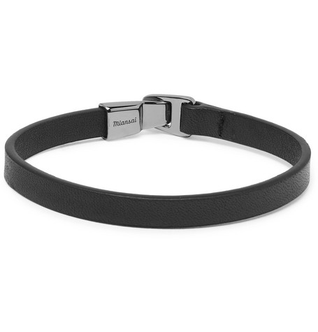 MIANSAI MOORE LEATHER AND RHODIUM-PLATED STERLING SILVER BRACELET